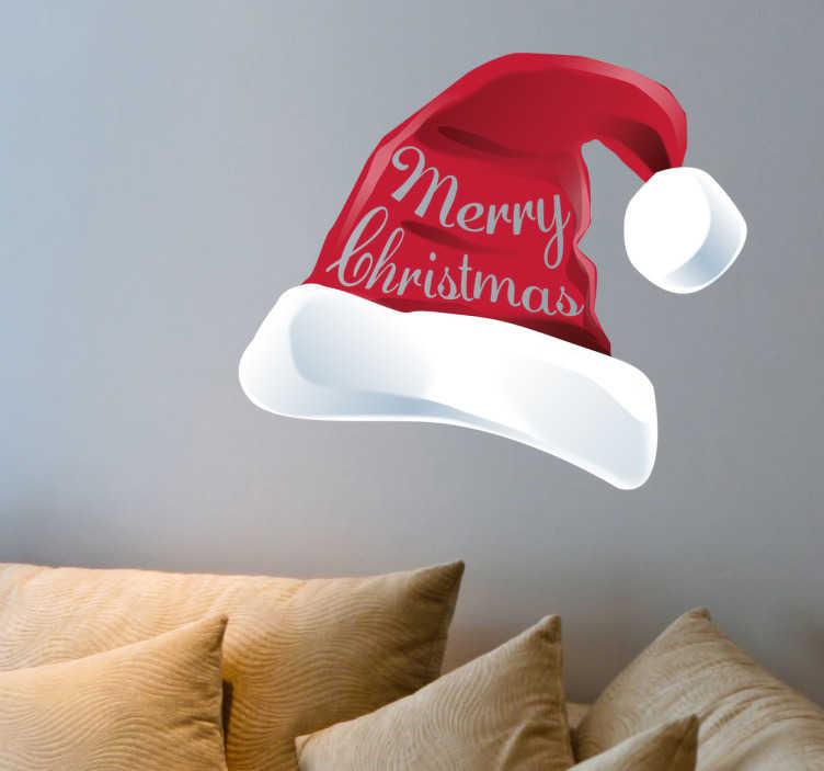 TenStickers. Sticker kerstmuts Merry Christmas. Voor een vrolijke kerstsfeer in huis is deze decoratie sticker precies wat u zoekt. Een afbeelding van een kerstmuts voor een fijne kerst.