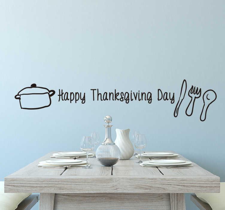 TENSTICKERS. カトラリーとテキスト感謝祭のステッカー. カトラリーとテキスト感謝祭のステッカー。テキスト、カトラリー、鍋で飾られたこの美しいステッカー。大切な日にぴったりの装飾です。