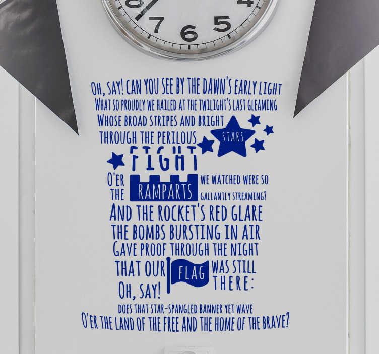 TENSTICKERS. 国歌ウォールステッカー. 象徴的なハイハットのデザインで書かれた国歌米国ウォールステッカー。この古典的なステッカーは、それがどこにいても国民の気持ちをもたらします。