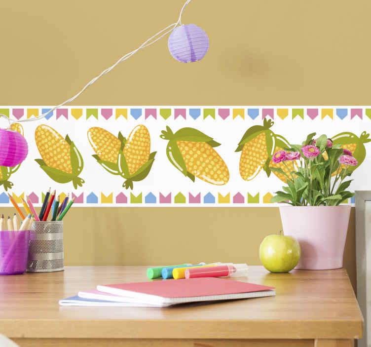 TENSTICKERS. トウモロコシの黄色と緑の装飾用ステッカー. トウモロコシが付いた面白い装飾用壁用ステッカーをチェックしてください。製品は長持ちし、取り外しても跡が残りません。