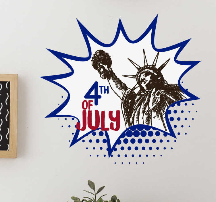 TenStickers. Independency Day sticker. Decorative 4th of July sign with the motive of the Statue of Liberty. Celebrate this special day with the right decoration.