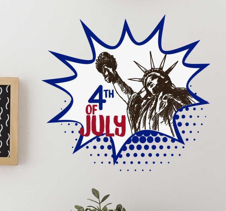 TENSTICKERS. 独立記念日ステッカー. 自由の女神の動機と装飾的な7月4日のサイン。適切な装飾でこの特別な日を祝います。