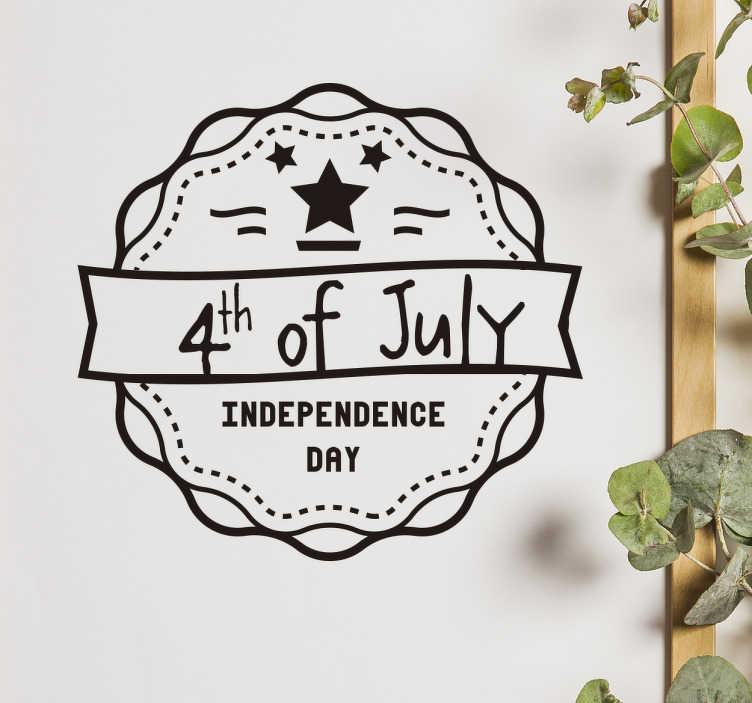 TENSTICKERS. ウォールステッカー独立記念日. 7月4日を適切な装飾で祝います。 7月4日のこの素晴らしいステッカーで、独立記念日にふさわしい雰囲気になります。