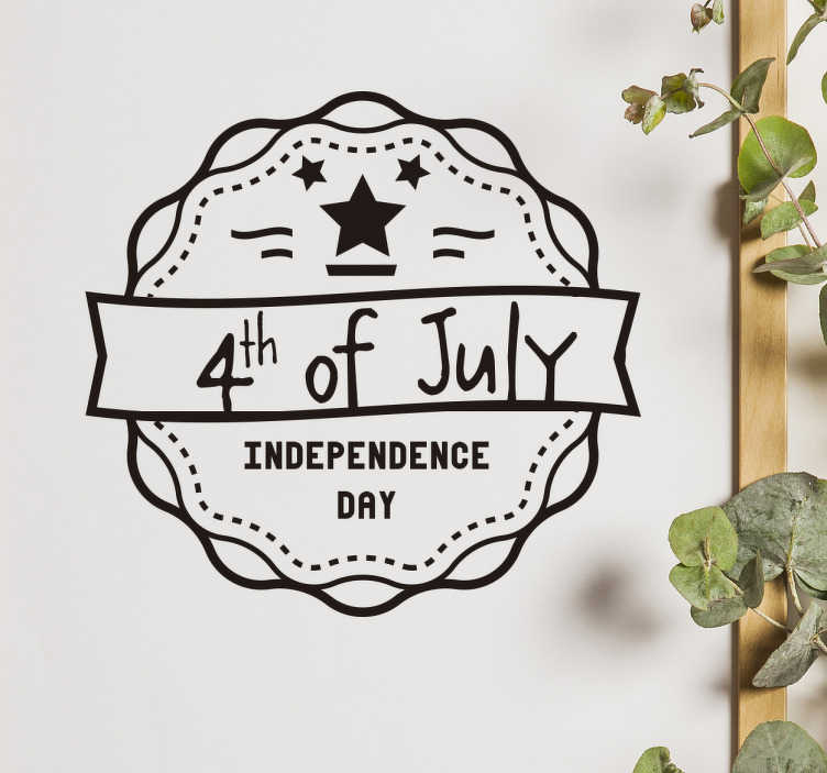 TenStickers. 墙贴独立日. 用合适的装饰庆祝7月4日。 7月4日这个伟大的贴纸,让您在独立日时心情舒畅。