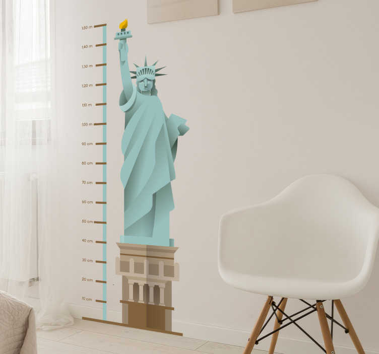 TenStickers. Muursticker groeimeter vrijheidsbeeld. Muursticker groeimeter met een tekening van een van de meest emblematische monumenten van onze planeet, het spectaculaire vrijheidsbeeld in New York.