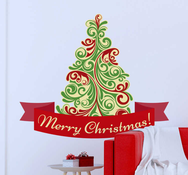TenStickers. Merry Christmas tree christmas wall sticker. Say 'Merry Christmas' with this beautiful Christmas sticker. Perfect for homes or shop front windows! Lovely swirling lines depicting a Christmas tree