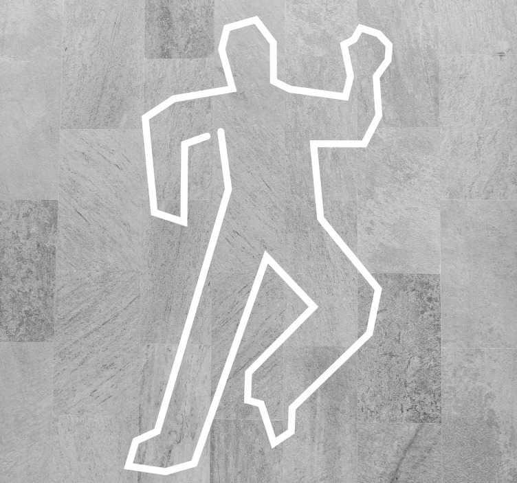 TenVinilo. Vinilos para suelo escena del crimen. Suelo vinílico con la clásica representación del perfil de un hombre asesinado, típico de las películas de Hollywood.