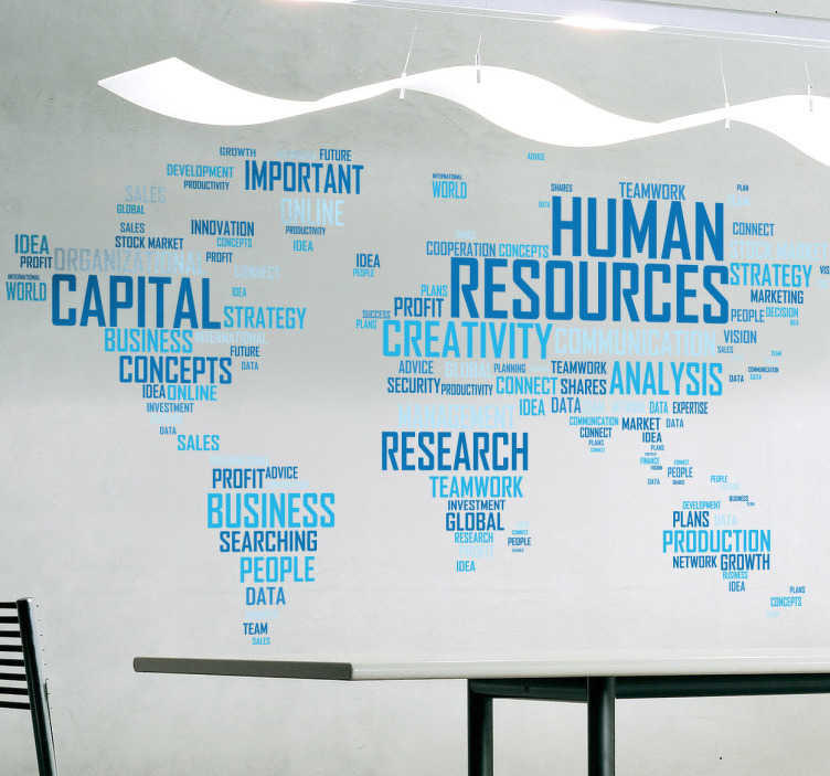TenStickers. Muursticker voor bedrijven human resources. Decoratieve sticker voor bedrijven, die een wereldkaart toont die samengesteld is uit woorden die verband houden met de bedrijfswereld.