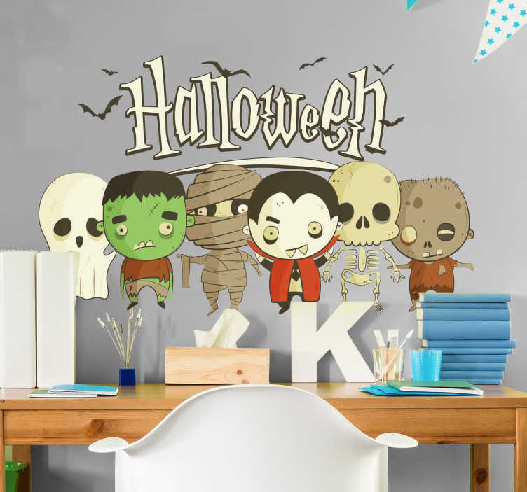 TenStickers. Adesivo Halloween per bambini. Adesivo infantile a tema horror perfetto per decorare la camerette dei tuoi figli. Adesivo raffigurante tutti i mostri favoriti dei bambini.
