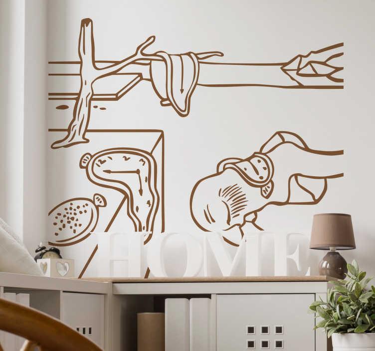 TenStickers. Muursticker kunst Dali klokken. Mooie kunst muursticker van een de werken van Dali. Decoreer uw huis met dit kunstwerk als wanddecoratie, bijvoorbeeld in de woonkamer.