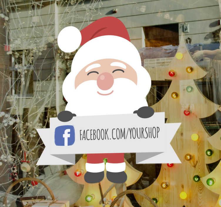 TenStickers. Aufkleber Facebook Weihnachtsmann. Um an Weihnachten auf die Social Media Kanäle aufmerksam zu machen eignet sicher dieser Schaufensteraufkleber perfekt.