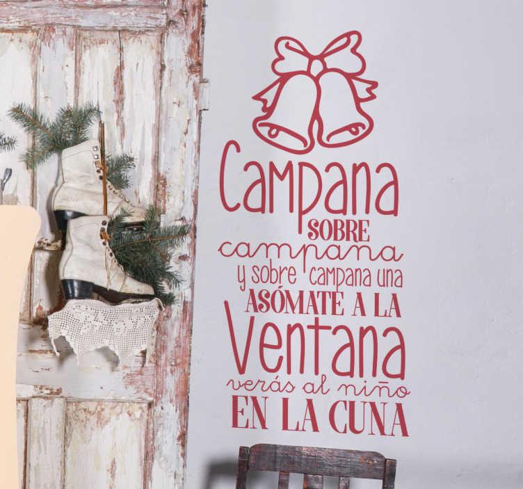 TenVinilo. Vinilo Navidad villancico campanas. Decora tu casa por Navidad con vinilos pared originales basados en tu canción favorita de estas fiestas tan entrañables.