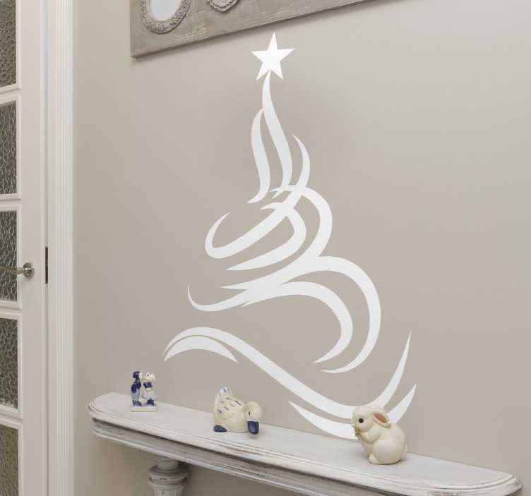 TenStickers. Wandtattoo Wohnzimmer filigraner Weihnachtsbaum. Die perfekte Alternative für das diesjährige Weihnachtsfest mit einem klassischen Tannenbaum, ist dieser filigran gestaltete wunderbare Christbaum Wandaufkleber. Blasenfreie Anbringung