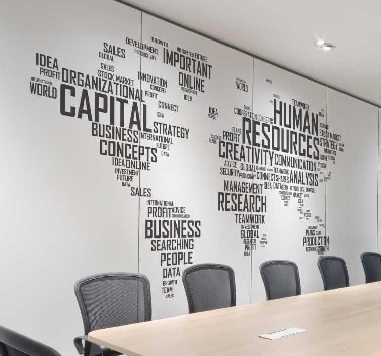 TenStickers. Muursticker concepten human resources. Decoratieve wereldkaart muursticker samengesteld uit woorden die verband houden met de bedrijfswereld met allerlei concepten in het Engels.