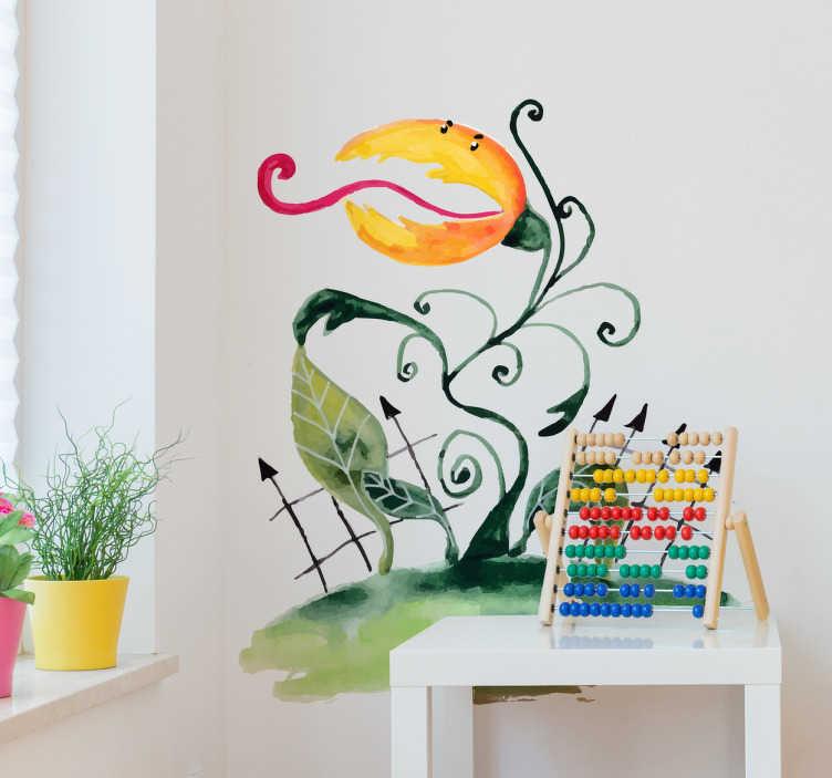 TenStickers. Wandtattoo Karnivoren. Interessantes Wandtattoo mit einer fleischfressenden Pflanze im Comicstil. Witzige Dekorationsidee für das Kinderzimmer.
