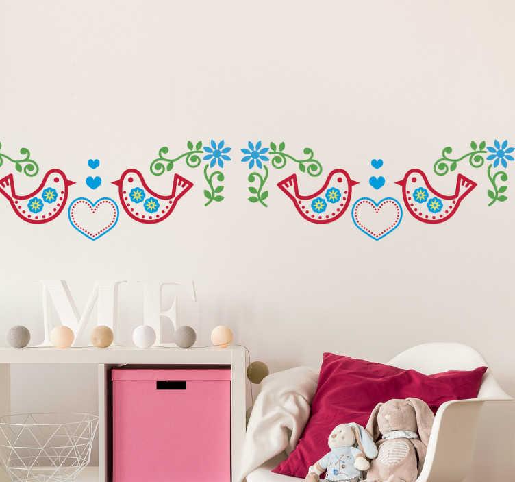 TenStickers. Bordüre Vögel. Schöne Bordüre mit Vögeln und Herzen im traditonellen Stil. Verschönern Sie Ihre Küche mit diesem tollen Wandtattoo.