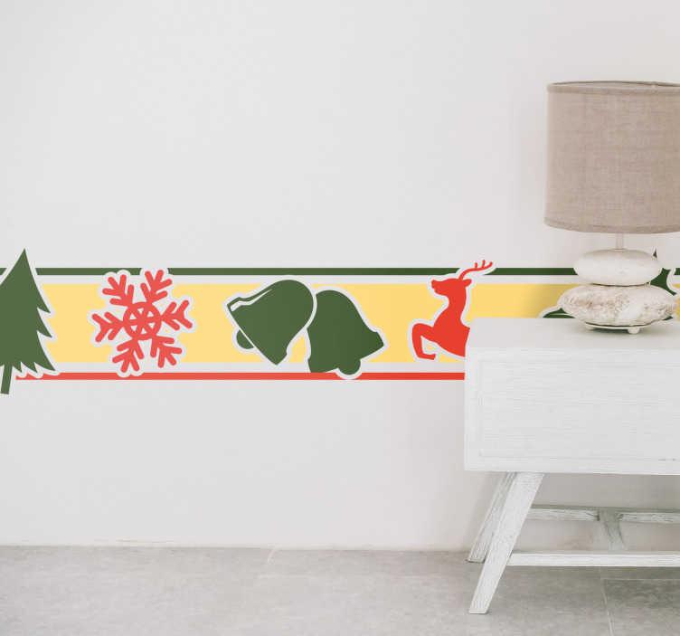 TenVinilo. Adesivo cenefa motivos navideños. Vinilo decorativo formado por una cenefa que consta de varios motivos navideños alineados.