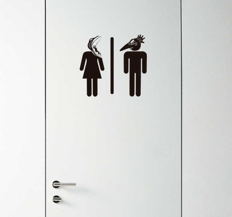 TenVinilo. Vinilo decorativo lavabo bitelchus. Vinilo decorativo con el mítico icono que señaliza los servicios, formado por dos de los personajes de la película de los ochenta, Bitelchus.
