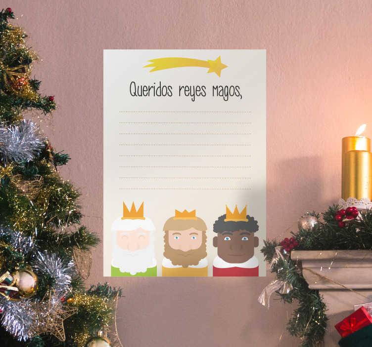 TenVinilo. Vinilo pizarra vileda carta a los reyes. Original vinilo decorativo en forma de pizarra vileda en la que tus hijos podrán escribirle la carta a los reyes magos cada año por navidad.