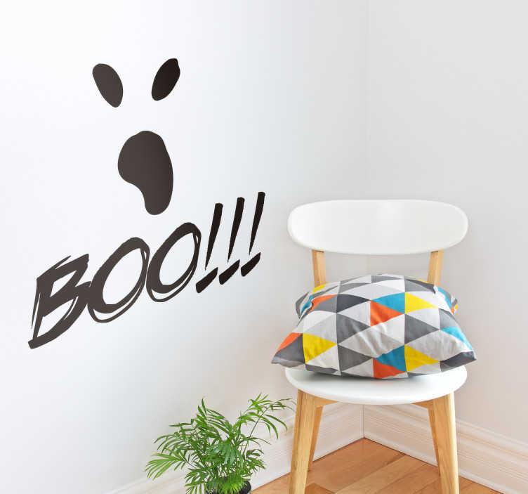 Tenstickers. Boo halloween klistermärke. Dekorera ditt hem med en halloween klistermärke. Det representerar ögon och mun av ett spöke med ordet boo och 3 utropstecken.