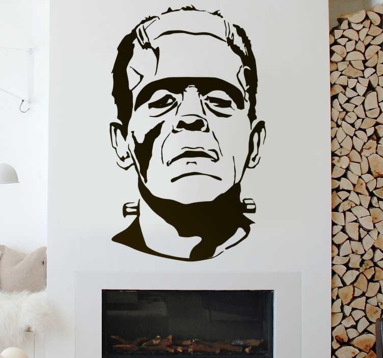 TenStickers. Sticker Halloween Frankenstein. Wilt u uw huis een griezelige sfeer geven tijdens Halloween? Breng de decoratieve sticker aan in uw huis, of één van onze overige enge wanddecoratie.
