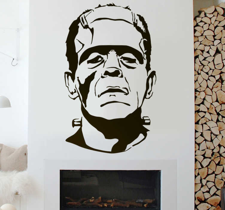 TenStickers. Frankenstein Halloween wallsticker. Frankenstein Halloween wallsticker. Få den skræmmende karakter Frankenstein på væggen til din Halloween fest.