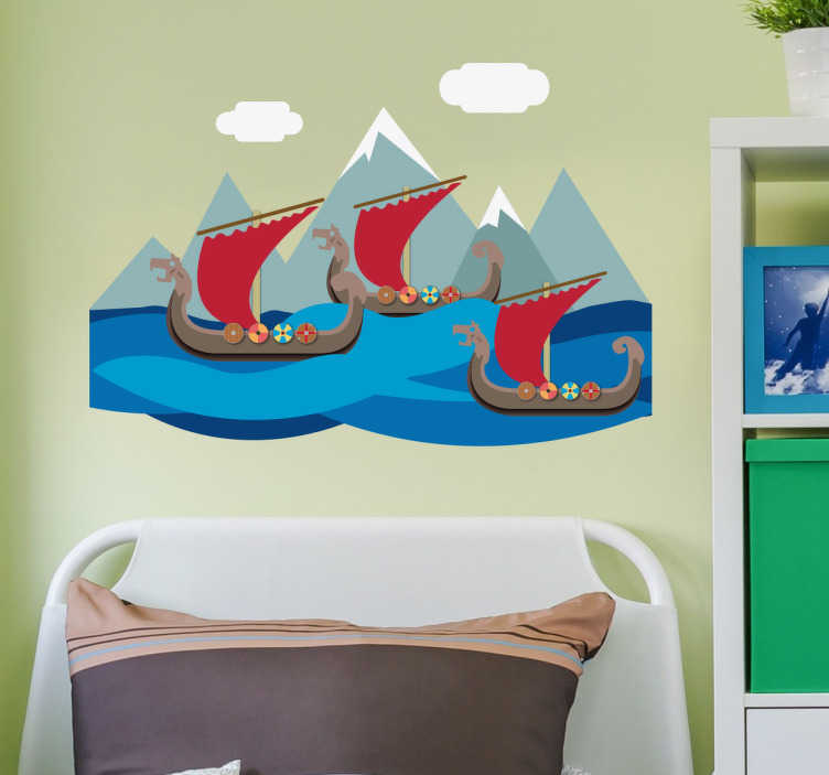 TenStickers. Naklejka na ścianę dla dzieci statki wikingów góry. Naklejka na ścianę kreskówki przedstawiastatki wikingów płynące między górami, prawdopodobnie zmierzające na morski podbój!