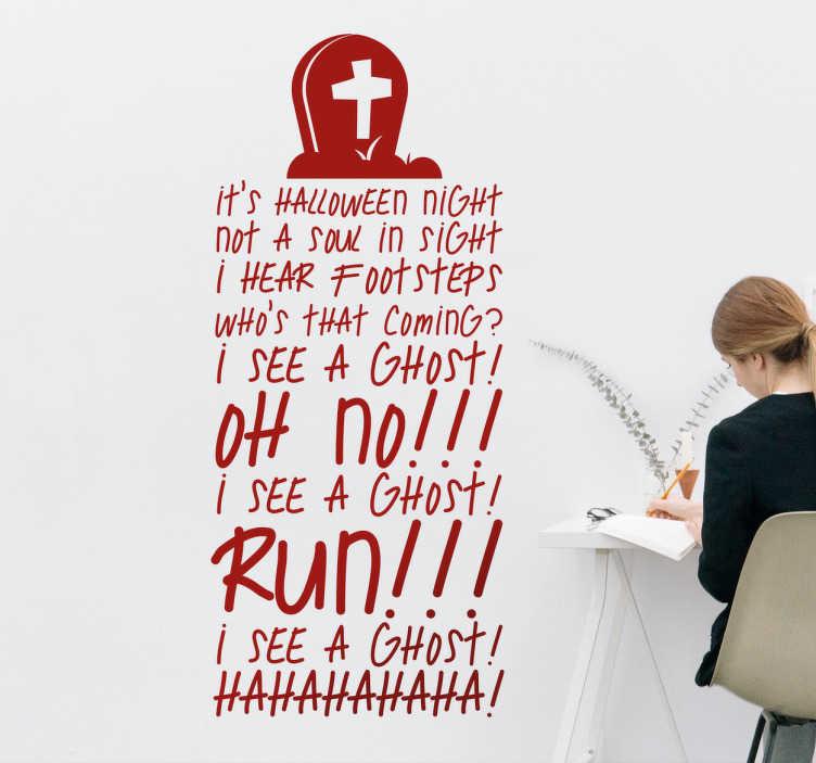 TenStickers. Halloween texty obývací pokoj stěna nálepka. Ozdobte pokoj svého dítěte texty halloweenové noční písně. První krok k oslavě halloween, jak by měl být.