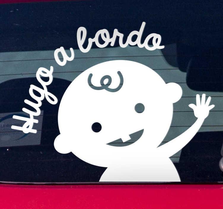 TenVinilo. Pegatina bebé a bordo personalizada. Adhesivos para coche personalizables para señalizar con originalidad y de forma clara que en tu coche viaja un bebé.