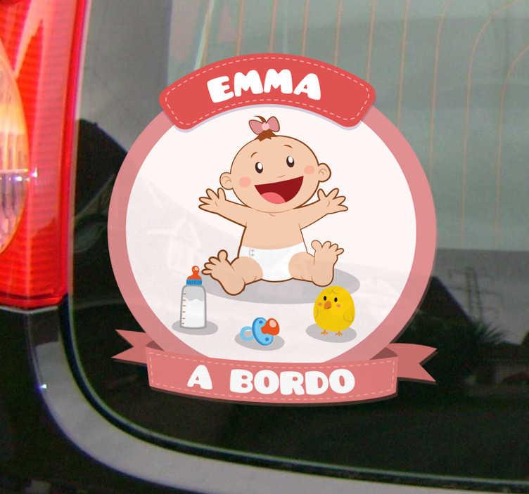 TenVinilo. Pegatinas para coche personalizables bebé. Vinilos coche personalizables para señalizar con claridad y de forma original que en tu coche viaja tu hija.