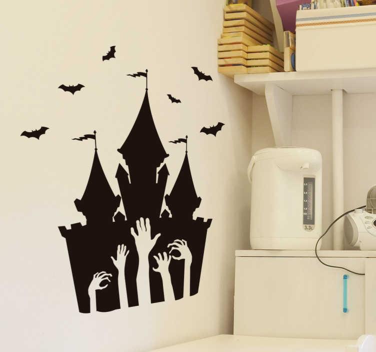TenVinilo. Vinilo castillo Halloween. Vinilos para Halloween con el perfil de un castillo tenebroso, de la cual emergen unas misteriosas manos de muertos vivientes.