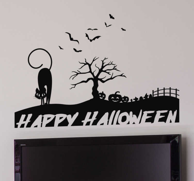 Sticker happy Halloween silhouette