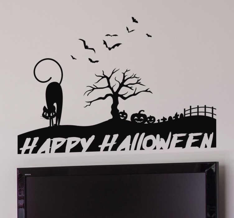 TenVinilo. Vinilo decorativo siluetas Halloween. Vinilos Halloween con el dibujo de un tenebroso lugar, un cementerio, un árbol seco y muerto, calabazas, murciélagos y un gato bufando.