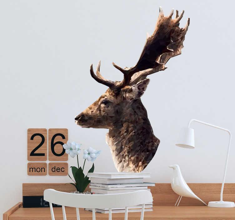 TenStickers. Adesivo animali profilo cervo decorativo. Sticker originale creato dall'architetto catalano Mai esclusivamente per Tenstickers con il ritratto di un cervo.