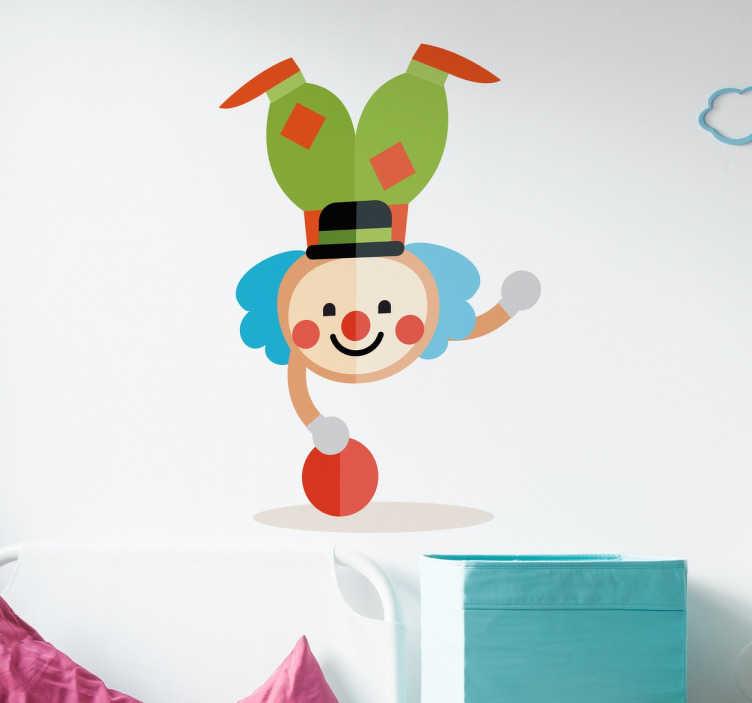 TenStickers. Farverige clown håndstand væg klistermærker til barn. Denne clown vægdekal i forskellige farver giver lykke og en positiv holdning til livet generelt til dine børn.