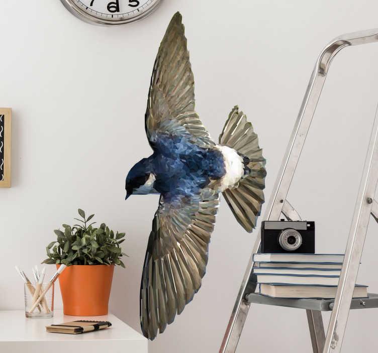 TenStickers. Muursticker geometrisch vliegende vogel. Een elegante muursticker bestaande uit honderden geometrische polygonale figuren die een tekening vormen van een spectaculaire realistische look.