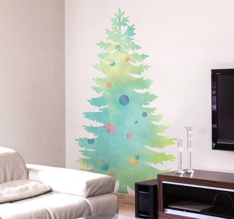 TenVinilo. Vinilo Navidad árbol acuarela. Originales vinilos para decoración Navidad con el perfil de un abeto decorado con textura acuarelada.