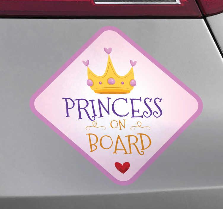"""TenStickers. Autoaufkleber Princess. Ein süßer Autoaufkleber mit der Aufschrift """"Princess on Board"""" für alle Eltern eines süßen Mädchens. Persönliche Beratung"""