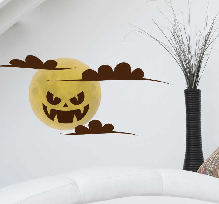 TenStickers. Sticker pleine lune terrifiante. Décorez la chambre de votre enfant ou son espace de jeu pour Halloween avec ce sticker original. Il représente une lune jaune avec des nuages marron.