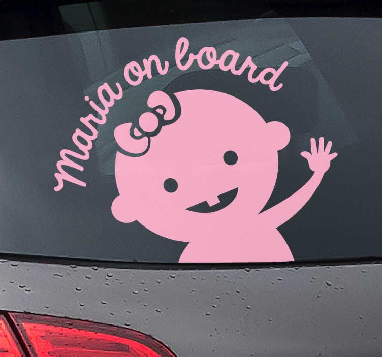 Tenstickers. Personoitava baby on board tarra. Personoitava baby on board tarra. Suloinen baby on board tarra auton takalasiin, johon voit valita itse minkä tahansa nimen.