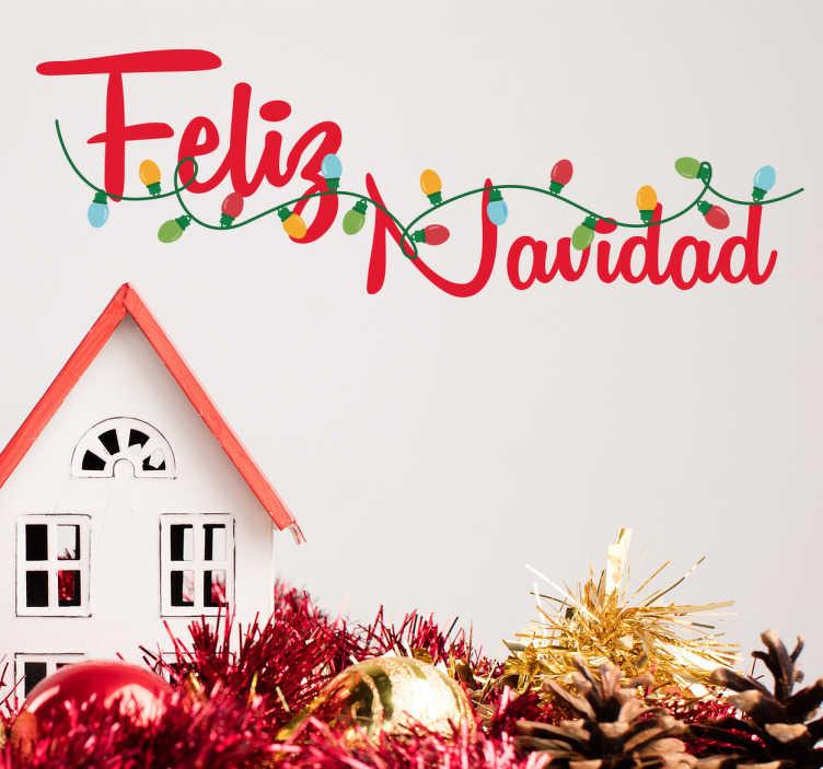 TenVinilo. Vinilo decorativo luces Navidad. Desea unas felices fiestas a tus invitados o clientes con un adhesivo navideño colorido y original.