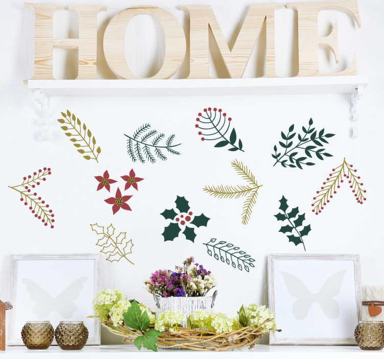 TenStickers. Stickers kerst plantaardige figuurtjes. Kerstdecoratie stickers die verschillende typische kerstflorale motieven bevatten. Decoreer elke gewenste ruimte met deze prachtige kerststickers.