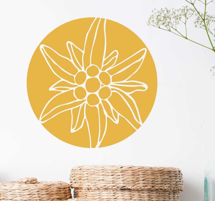 TenStickers. Sticker bloem alpen. Bloemen muursticker met een elegant ontwerp van een cirkel met daarin een bloem die typisch voorkomt in de Alpen. Stijlvolle wanddecoratie.