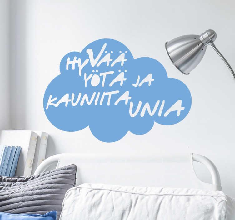 Tenstickers. Sisustustarra Hyvää yötä. Sisustustarra Hyvää yötä ja kauniita unia. Ihana seinätarra, jossa pilven sisällä oleva teksti toivottaa hyvää yötä. Täydellinen makuuhuoneeseen.