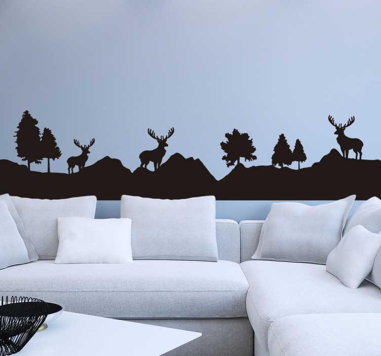 TenStickers. Adesivo montagna paesaggio renne. Adesivo paesaggistico raffigurante montagne, alberi e renne, in modo sagomato nero. Disponibile in più di 50 colori. Facile da applicare.
