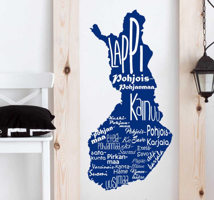 Tenstickers. Sisustustarra Suomen kartta. Sisustustarra Suomen kartta. Suomi 100-vuoden kunniaksi, miksi et koristaisi seinääsi tällä modernilla Suomen kartalla, jossa lukee kaikki maakunnat.