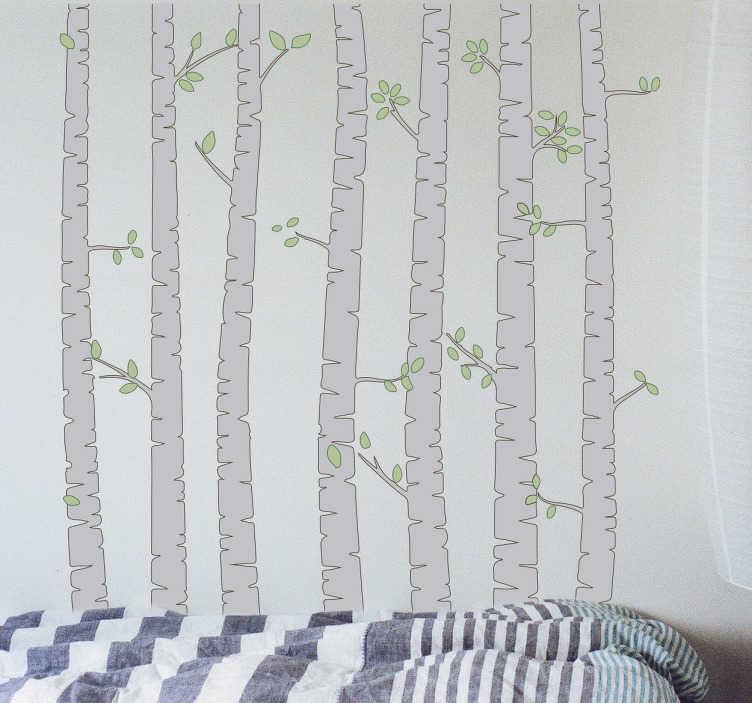 TenStickers. Muursticker berken stammen. Fraaie muursticker voor huisdecoratie met meerdere boomstammen van berken om uw huis mee te decoreren, bijvoorbeeld de slaapkamer of de woonkamer.