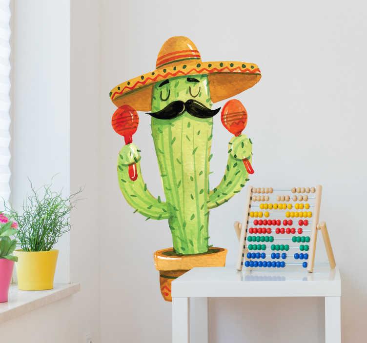 TenVinilo. Vinilo decorativo México cactus. Vinilos México con un divertido dibujo de una planta de cactus vestido como un mariachi mexicano, con el sobrero típico, maracas y bigote.