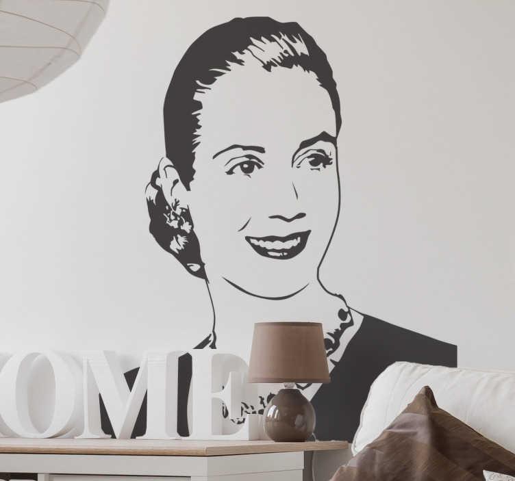 TenVinilo. Vinilo decorativo retrato Eva Perón. Vinilos pared con el retrato de Evita, la primera dama argentina, un icono mundial y referentes histórico para muchos.