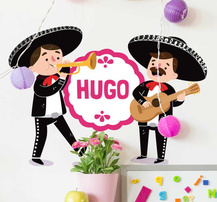 TenVinilo. Vinilo infantil personalizable mariachis. Murales infantiles pared con el dibujo de dos músicos y en la parte central el nombre de tu hijo.